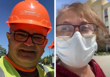 Armando Negron and Bellaliz Gonzalez were recovery workers in Midland, Mich., after two dam collapses flooded the area.