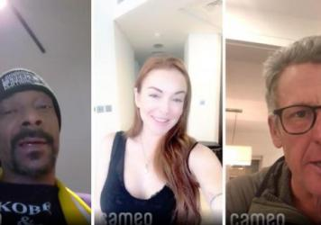Cameo enlists stars to produce short video messages that are paid for by fans. In these videos Snoop Dogg (left) wishes happy birthday to an 18 year old, Lindsay Lohan (center) offers condolences for a postponed bachelorette party, And Lance Armstrong (r