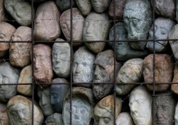 Sculptor Yevgeny Chubarov donated this installation of 282 stone heads in a cage — symbolizing Joseph Stalin's countless victims — on the condition it be displayed next to the Soviet dictator.