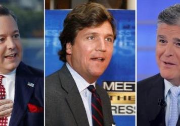 "In this combination photo, Ed Henry, from left, speaks on ""Fox & Friends"" in 2019, in New York, Tucker Carlson arrives for the 60th anniversary celebration of NBC's <em>Meet the Press, </em>in 2017 in Washington and Sean Hannity during a taping of his sh"