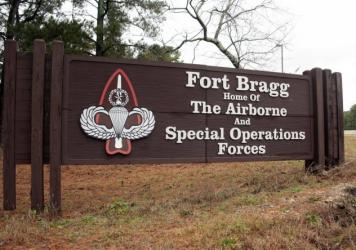 A sign at Fort Bragg, N.C., is shown in a photo taken earlier this year. The base is one of ten that are named after Confederate military leaders.