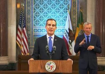 Los Angeles Mayor Eric Garcetti, pictured giving his annual State of the City speech in  April, announced on Wednesday that he is authorizing the Department of Water and Power to shut off service at properties hosting large parties, which are forbidden u