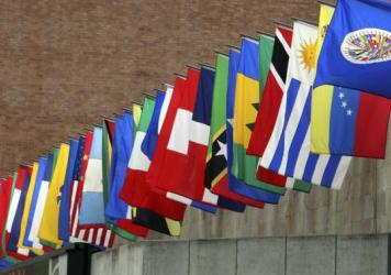 The flags of the Organization of American States (OAS)