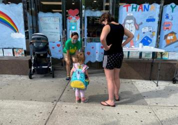 A drop-off at a day care last month in the Queens borough of New York City.