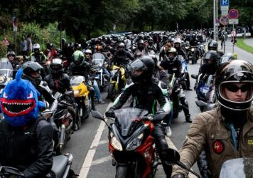 German motorcyclists demonstrate Sunday in Lower Saxony, Hanover, against proposals to restrict their rides.