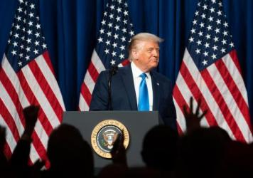 President Trump delivered lengthy remarks to delegates gathered in Charlotte, N.C., on the first day of the Republican National Convention.