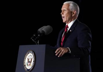 Vice President Mike Pence speaks on the third day of the Republican National Convention at Fort McHenry National Monument and Historic Shrine in Baltimore.