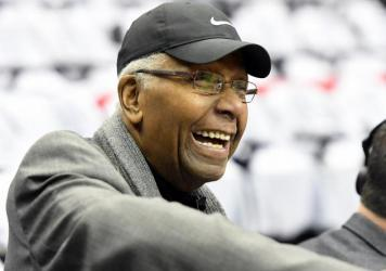 Former Georgetown Hoyas men's basketball coach John Thompson Jr., shown here at a game in 2019, has died. He was 78.