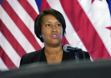 Washington, D.C., Mayor Muriel Bowser said that agitators from elsewhere had arrived in the District, intent on battling police. Bowser is seen here at a press conference earlier this month.