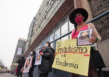 Demonstrators in front of the prosecutor's office in Lima, Peru, protest gender violence and femicide on June 20.