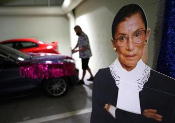 A cardboard cutout of Justice Ruth Bader Ginsburg. The late Supreme Court justice was also a pop culture phenomenon.