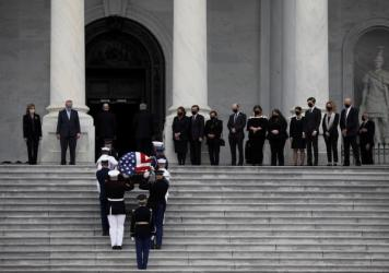 The flag-draped coffin of the late Supreme Court Justice Ruth Bader Ginsburg arrives to the U.S. Capitol where she will lie in state for two hours in Washington, D.C.