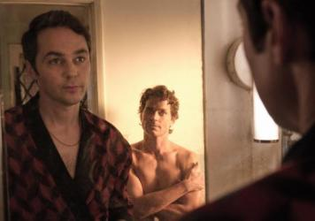 """Mirror, mirror, on the wall, who's the fairest ... you know what, never mind. I'm good."" Michael (Jim Parsons) and Donald (Matt Bomer) in <em>The Boys in the Band.</em>"