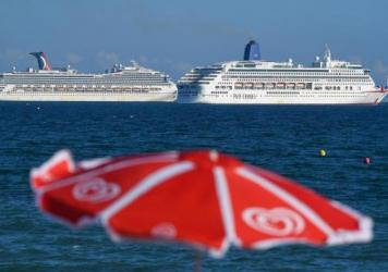 Two Carnival cruise ships seen this summer are anchored in the English Channel as the industry remains hobbled by the coronavirus pandemic.