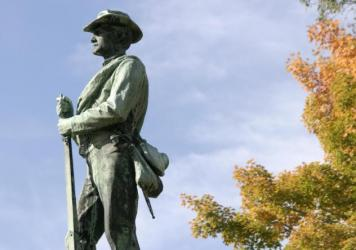 A statue of a Confederate Soldier on Washington Street in Lewisburg, W.Va.