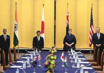 Indian Minister of External Affairs Subrahmanyam Jaishankar (from left), Japanese Foreign Minister Toshimitsu Motegi, Australian Foreign Minister Marise Payne and Secretary of State Mike Pompeo attend a meeting Tuesday in Tokyo.