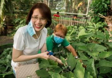"Geraldine Roman, the first openly transgender person to be elected to the Philippine Congress, visits a vegetable garden in Bataan. She leads a program called Oh My Gulay — <em>gulay</em> is Tagalog for ""vegetables."" It encourages people to grow veg"