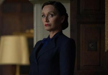 Mrs. Danvers (Kristin Scott Thomas) is forbidding, foreboding and fierce — easily the best thing about Netflix's <em>Rebecca</em> remake.