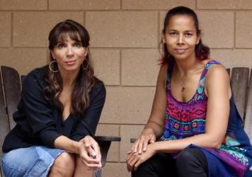 "In the first episode of Amplify With Lara Downes, the pianist (left) speaks with singer-songwriter, banjo player and MacArthur ""genius"" Rhiannon Giddens."