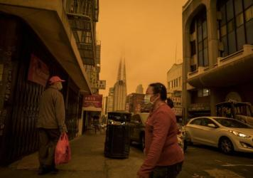 Pollution is a global problem. Above: Stockton Street in the Chinatown district of San Francisco on Sept. 9, a time when air quality was affected by wind and wildfires.