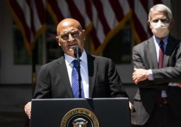 Moncef Slaoui, a former GlaxoSmithKline executive, speaks during the kickoff announcement for Operation Warp Speed in the White House Rose Garden on May 15.