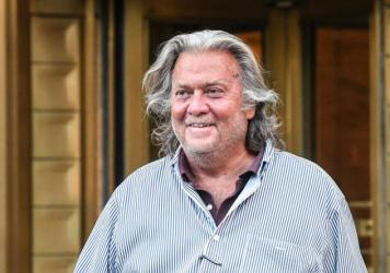 """Former White House chief strategist Steve Bannon, shown here in August, had a Twitter account associated with him suspended after the social media company said his comments violated<strong> </strong>its """"policy on the glorification of violence."""""""