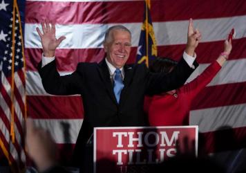 Sen. Thom Tillis, R-N.C., celebrates at an election night rally in Mooresville, N.C., but it took several days after Election Day before Democrat Cal Cunningham conceded. The Associated Press has not yet called the race.