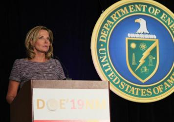 In this file photo, Lisa Gordon-Hagerty talks about the National Nuclear Security Administration. She was removed from her post in an abrupt round of departures at three agencies.