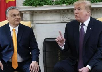 Hungarian Prime Minister Viktor Orban did not join other European leaders in congratulating Joe Biden. Orban and President Trump are seen here meeting last year at the White House.