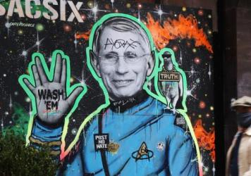 """Dr. Anthony Fauci, here depicted in a mural in New York City, is """"a proud son of Brooklyn"""" who is helping the country get through the COVID-19 pandemic, Brooklyn Borough President Eric Adams said."""