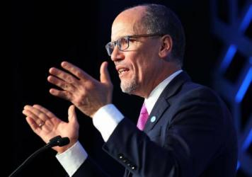 Democratic National Committee Chair Tom Perez speaks in February in Charlotte, N.C. Democrats are arguing over the future of the party after it lost some seats in the House of Representatives.