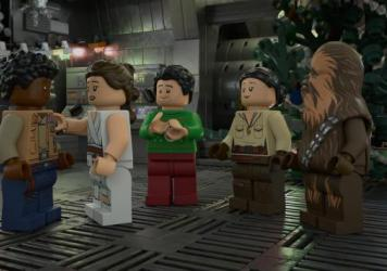 """""""Now THAT's fan-servicing!': L to R: LEGO Finn, LEGO Rey, LEGO Poe, LEGO Rose and LEGO Chewie plan a Life Day party in <em>The LEGO Star Wars Holiday Special.</em>"""