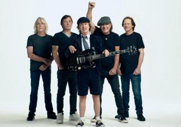 AC/DC, left to right: Cliff Williams, Phil Rudd, Angus Young, Brian Johnson, Stevie Young.