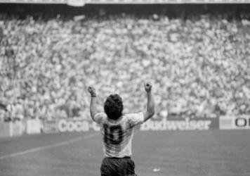 Diego Maradona celebrating Argentina victory of World Cup at Azteca stadium, Mexico City, World Cup 1986.
