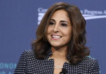 Neera Tanden, president and CEO of the Center for American Progress, speaks at a forum on wages and working people on April 27, 2019. President-elect Joe Biden is nominating Tanden to run the Office of Management and Budget.