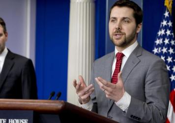 Brian Deese, seen here speaking to White House reporters in 2015, is President-elect Joe Biden's pick to lead the National Economic Council.