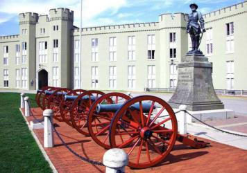 """The statue of Confederate Gen. Thomas """"Stonewall"""" Jackson in front of the barracks at Virginia Military Institute in an archival photo. VMI began removing the statue Monday."""