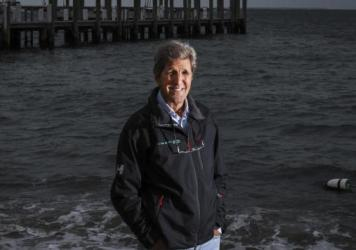 Former Secretary of State, John Kerry poses on Martha's Vineyard in Vineyard Haven, Mass., on Sept. 18, 2020.