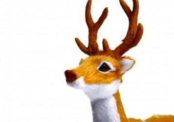 A toy reindeer is shown on a white background. Radio stations, looking to boost ratings and provide comfort in a pandemic-marred year, started playing songs as early as July. And listeners loved it.