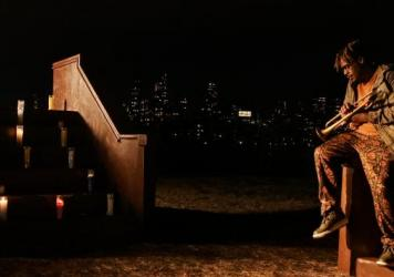 """Grammy-winning trumpetist Keyon Harrold performs """"Ethereal Souls"""" at Fontaine Capel in Socrates Sculpture Garden of Queens, N.Y.."""