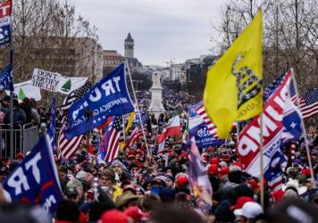 Pro-Trump supporters gather outside the U.S. Capitol following a rally with President Donald Trump on January 6, 2021 in Washington, DC.