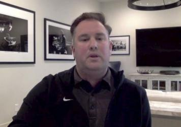 This screen grab from a December Zoom call shows New York Mets general manager Jared Porter. Porter sent graphic, uninvited text messages and images to a female reporter in 2016 when he was working for the Chicago Cubs in their front office, ESPN reporte