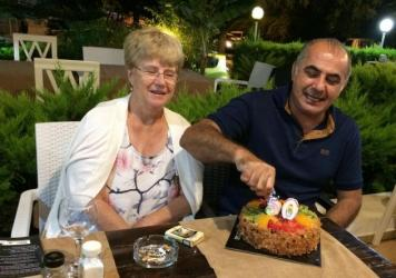 Pamela and Afshin Raghebi celebrate a birthday together. Afshin, who was born in Iran, has been stuck overseas, away from his U.S. citizen wife, for more than two years after he flew abroad for an interview at a U.S. Consulate as part of his green card a