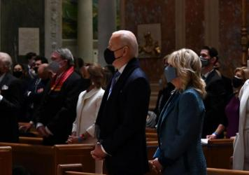 Joe and Jill Biden attend Mass at the Cathedral of St. Matthew the Apostle in Washington, D.C., on Wednesday morning before his inauguration.