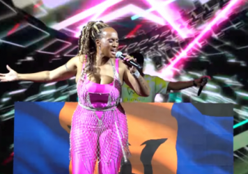 Soca star Alison Hinds of Barbados performs on the inaugural Showdown livestream in October 2020.