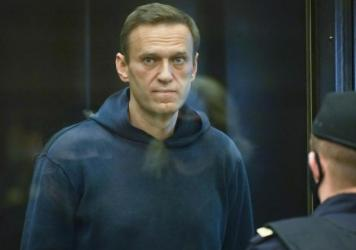 Russian opposition leader Alexei Navalny appears in the Moscow City Court in Moscow on Tuesday.