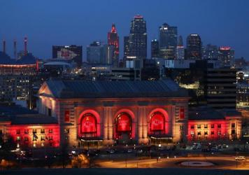 Union Station and the Kansas City skyline are lit on Feb. 01, 2021 in Kansas City, Mo. In June 2019, the U.S. Department of Agriculture announced its plan to move two of its research agencies out of Washington, D.C., to the Kansas City area. Rather than