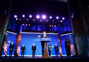 Then-President-elect Joe Biden introduces members of his foreign policy and national security teams on Nov. 24, 2020, in Wilmington, Del.