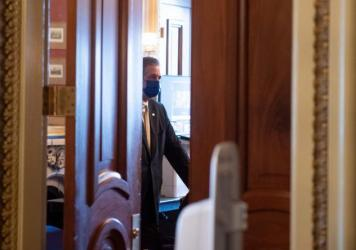 Lawyer Bruce L. Castor Jr, a member of former President Donald Trump's legal team, is seen on Capitol Hill Monday.