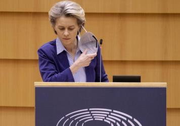 President of the European Commission Ursula von der Leyen delivers a speech during a session of the European Parliament on Wednesday in Brussels.